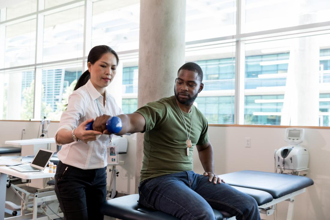 military receiving physical therapy